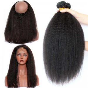 360 Lace Frontal Band with Cap Kinky Straight Brazilian Virgin Hair Lace Frontals With Two Bundles