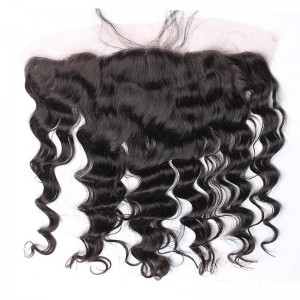 Natural Color Loose Wave Indian Remy Hair Lace Frontal Closure 13x4inches