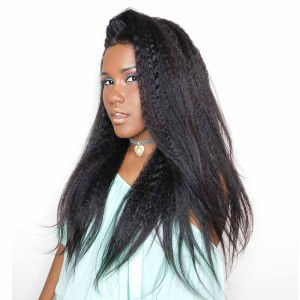 150% Density Brazilian Wigs Natural Hair Line Kinky Straight Human Hair Wigs
