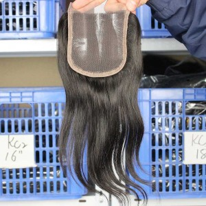 Natural Color Peruvian Virgin Hair Silk Straight Three Part Lace Closure 4x4inches