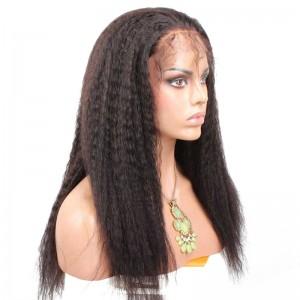 Lace Front Human Hair Wig Peruvian Virgin Hair Kinky Straight Wigs Natural Color