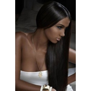 Color #2 Dark Brown Silky Straight Indian Remy Human Hair Full Lace Wigs