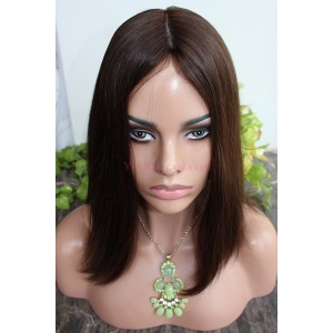 European Virgin Hair Silky Straight Silk Top Full Lace Kosher Sheitels Jewish Wigs