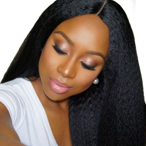Kinky Straight Peruvian Virgin Human Hair Glueless Full Lace Wigs Natural Color