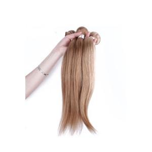 Color #27 Honey Brown Straight Brazilian Virgin Human Hair Weave 3 Buddles