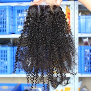 European Virgin Hair Afro Kinky Curly Three Part Lace Closure 4x4inches Natural Color