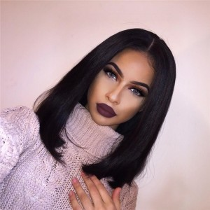 360 Lace Wigs 180% Density Brazilian Virgin Hair Short Straight BOB Style Full Lace Wig
