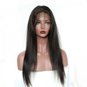 Natural Color Unprocessed Indian Virgin 100% Human Hair Silk Straight Full Lace Wigs