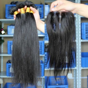 Malaysian Virgin Hair Silky Straight Three Part Lace Closure with 3pcs Weaves