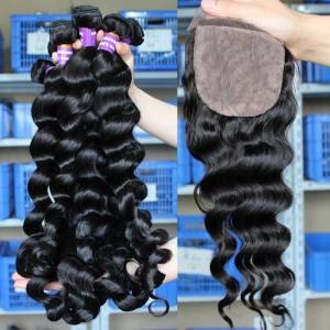 Malaysian Virgin Hair Loose Wave 4X4inches Three Part Silk Base Closure with 3pcs Weaves