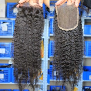 Natural Color Kinky Straight European Virgin Hair Free Part Lace Closure 4x4inches