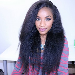Kinky Straight Full Lace Human Hair Wigs Mongolian Virgin Hair Natural Color
