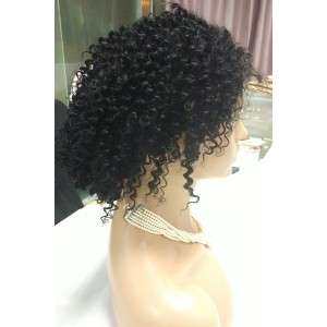 Color #1 Kinky Curly Lace Front Wig Brazilain Virgin Hair