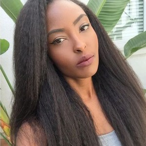 250% Density Wigs Pre-Plucked Glueless Brazilian Wigs Kinky Straight Natural Hair Line for Black Women