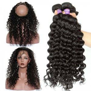 360 Lace Frontal Band Brazilian Virgin Hair Deep Wave 360 Circle Lace Frontal With Two Bundles