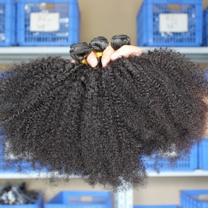 Indian Virgin Hair Natural Color Afro Kinky Curly Hair Weave 3 Bundles
