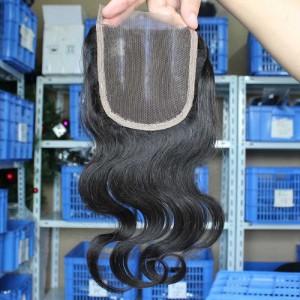 Body Wave European Virgin Hair Three Part Lace Closure 4x4inches Natural Color