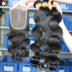 Mongolian Virgin Hair Body Wave Middle Part Lace Closure with 3pcs Weaves