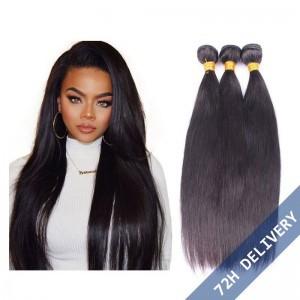 Natural Color Silk Straight Brazilian Virgin Human Hair Extensions Weave 3 Bundles