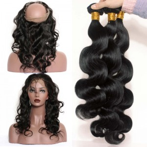 360 Frontal Closure With 3 Bundles Body Wave Brazilian Virgin Hair 360 Lace Band Frontal Closure