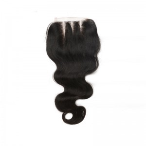Mongolian Virgin Hair Body Wave Three Part Lace Closure 4x4inches Natural Color