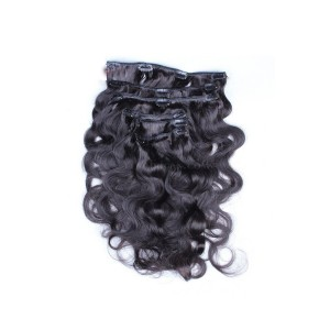 Body Wave Mongolian Virgin Hair Clip In Human Hair Extensions Natural Color