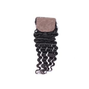 Natural Color Deep Wave Brazilian Virgin Hair Silk Base Closure 4x4inches