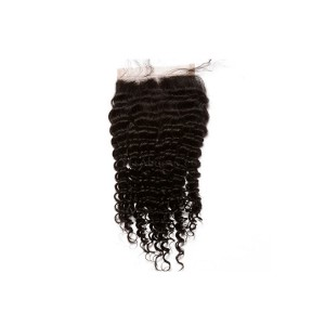 Natural Color Brazilian Virgin Hair Kinky Curly Free Part Lace Closure 4x4inches