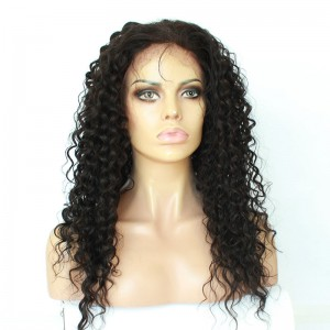 Natural Color High Quality 100% Brazilian Virgin Human Hair Wig Deep Curly Lace Front Wigs