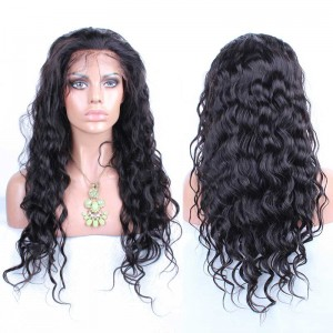 22 inch Natural Color Loose Wave Brazilian Virgin 100% Human Hair Lace Front Wig