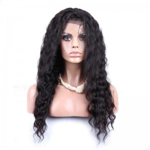 Natural Color Brazilian Virgin Human Hair Wigs Deep Wave Silk Top Lace Wigs