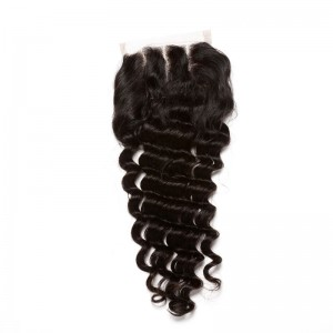 Mongolian Virgin Hair Deep Wave Free Part Lace Closure 4x4inches Natural Color
