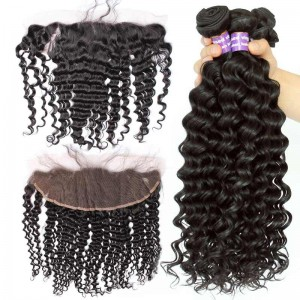 Malaysian Virgin Hair Deep Wave Curly Lace Frontal With 3Pcs Hair Bundles Natural Color