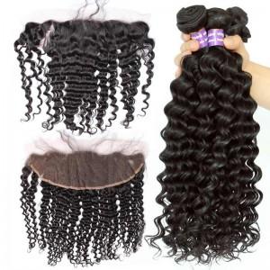 Malaysian Virgin Hair Deep Wave Curly Lace Frontal With 3Pcs Hair Bundles Natural Color
