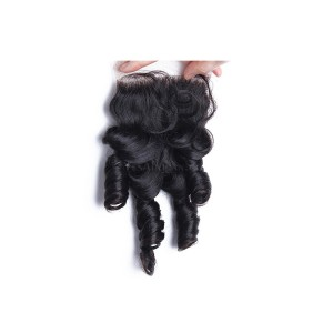 Brazilian Virgin Hair Bouncy Curl Funmi Hair Free Part Lace Closure 4x4inches Natural Color