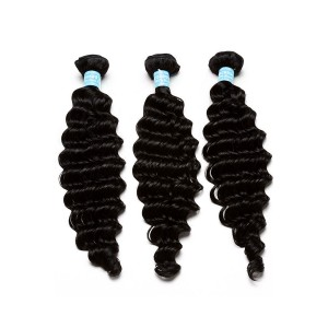 European Virgin Human Hair Deep Wave Hair Weave Natural Color 3 Bundles