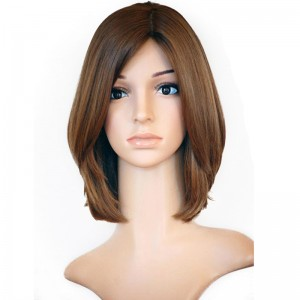 Color Brown European Virgin Hair Silky Straight Silk Top Full Lace Jewish Wigs