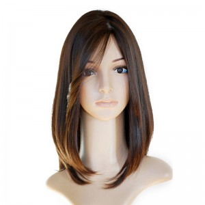 Brown Color European Virgin Hair Silky Straight Jewish Silk Top Full Lace wigs