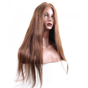 Brown Wigs #4 Hair Color Straight Lace Front Human Hair Wigs 150% Density