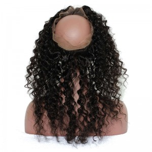 360 Lace Frontal Wigs Deep Wave Natural Hairline Brazilian Virgin Hair 360 Lace Band Closure