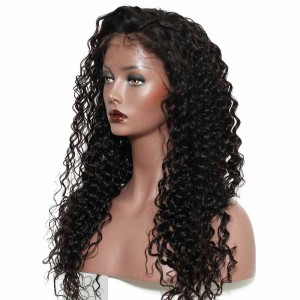 Deep Wave Full Lace Wigs 180% Density 360 Circular Lace Wigs Brazilian Virgin Hair 100% Human Hair Wigs Natural Hair Line Wigs