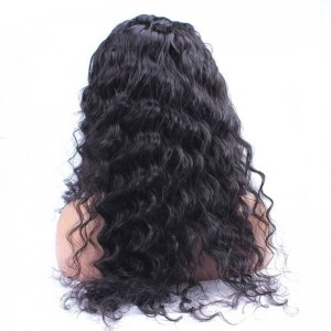 Hot Sale Brazilian Virgin Human Hair loose wave Full Lace Wigs Natural Color