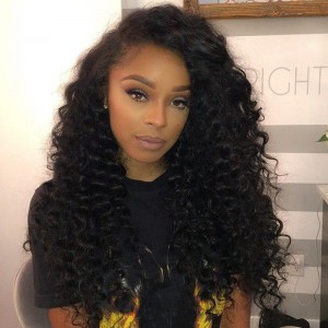 250% Density Pre-Plucked Lace Front Wigs Malaysian Virgin Hair Kinky Curly Human Hair Wigs Natural Hair Line