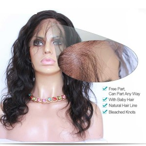 360 Lace Frontal Band Body Wave Peruvian Virgin Hair Lace Frontals Natural Hairline 22.5*4*2
