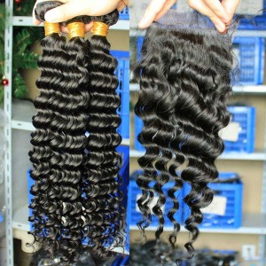 Mongolian Virgin Hair Deep Wave Free Part Lace Closure with 3pcs Weaves