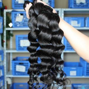 Natural Color Loose Wave Brazilian Virgin Human Hair Weaves 4pcs Bundles