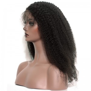 250% Density Full Lace Human Hair Wigs Mongolian Afro Kinky curly Lace Front Wig 20inch
