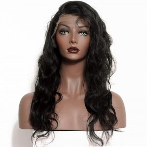 Natural 100% Brazilian Virgin Human Hair Unprocessed Body Wave Full Lace Wigs Natural Color