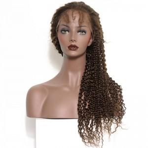 360 Circular Lace Wigs Kinky Curly Brazilian Virgin Hair Full Lace Wigs 180% Density 100% Human Hair Wigs Color #4