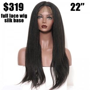 Full Lace Human Hair Wigs with Silk Base natural Black Color 22'' in stock 72 Hour Delivery